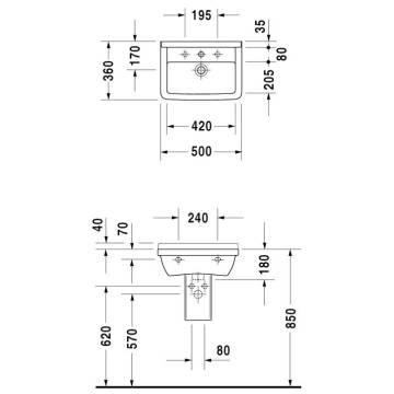 Duravit Starck 3 Waschtisch 50 Cm Mit Hahnloch 030050 Megabad