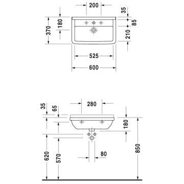 Duravit Starck 3 Waschtisch 60 Cm Compact Mit 1 Hahnloch Megabad