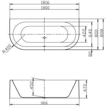 hoesch happy d wanne 181 6 x 80 8 x 45 cm mit sch rze megabad. Black Bedroom Furniture Sets. Home Design Ideas