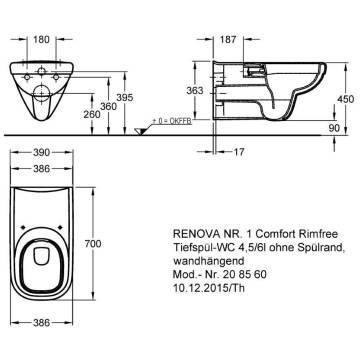Keramag Renova Nr1 Comfort Wand Wc Spülrandlos Ausladung 70 Cm