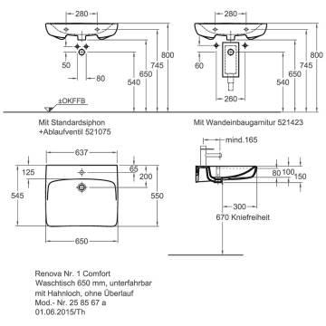 Keramag Renova Nr1 Comfort Waschtisch 65 Cm Unterfahrbar Mit