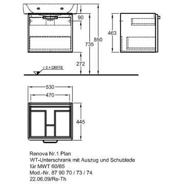 Keramag Renova Nr1 Plan Waschtischunterschrank 53 X 445 879070000