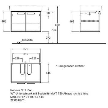 Keramag Renova Nr 1 Plan Waschtischunterschrank 67 X 445 Cm