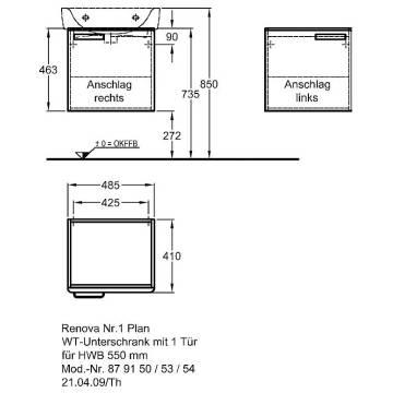 Keramag Renova Nr 1 Plan Waschtischunterschrank 485 X 40 Cm