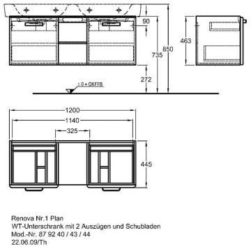 Keramag Renova Nr 1 Plan Waschtischunterschrank Mit 2 Auszügen