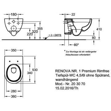Keramag Renova Nr 1 Tiefspül Wc Premium Wandhängend Ohne Spülrand