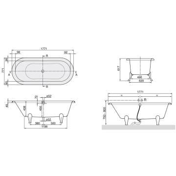 villeroy boch hommage duo wanne 177 1 x 77 1 cm ubq180hom700v megabad. Black Bedroom Furniture Sets. Home Design Ideas