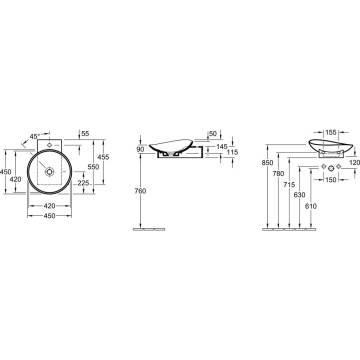 villeroy boch my nature aufsatzwaschtisch 45 cm 411045r1 megabad. Black Bedroom Furniture Sets. Home Design Ideas
