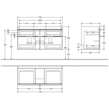 Villeroy Boch Venticello Waschtischunterschrank Xxl 115 3 Cm