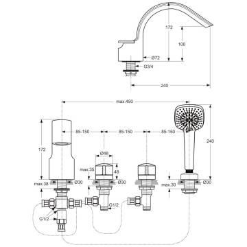 ideal standard melange 4 loch armatur a4293 f r wannenrand megabad. Black Bedroom Furniture Sets. Home Design Ideas