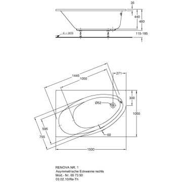 keramag renova nr 1 asymmetrische eck badewanne rechts megabad. Black Bedroom Furniture Sets. Home Design Ideas