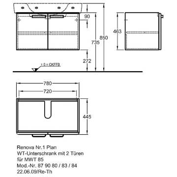 keramag renova nr 1 plan waschtischunterschrank 78 0 x 44 5 879080000 megabad. Black Bedroom Furniture Sets. Home Design Ideas