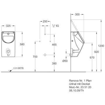 Keramag Renova Nr1 Plan Urinal Mit Deckel Zulauf Von Hinten Megabad