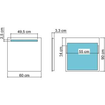koh i noor spiegel mit oberbeleuchtung t5 60 x 90 cm art. Black Bedroom Furniture Sets. Home Design Ideas