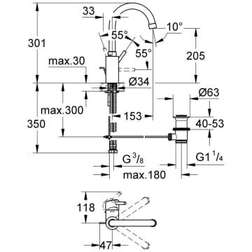 Gut bekannt Grohe Concetto Einhand-Waschtischbatterie 32629001, Auslauf hoch GU94