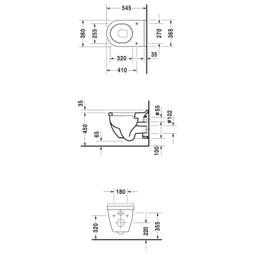 Relativ Duravit Starck 3 Wand-WC Comfort Sitzhöhe + 5 cm - MEGABAD JY22