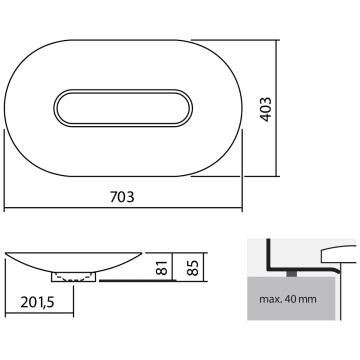 alape schalenbecken oval sb o700 gs ovalf rmig 70 x 40 cm. Black Bedroom Furniture Sets. Home Design Ideas