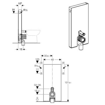Geberit Monolith Sanitarmodul Fur Stand Wc 101 Cm Mit P