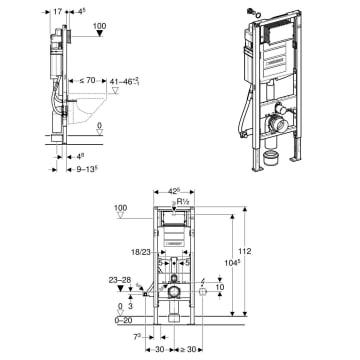 Geberit Duofix Element für Wand-WC, 112 cm, UP-Spülkasten ...