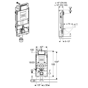 Geberit WC Vorwandelement Duofix Befestigung Montageset Modul Halterung Tece