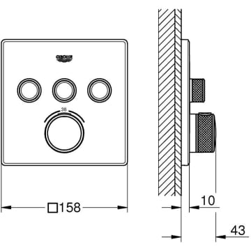 chrom Grohtherm SmartControl Thermostatbatterie mit 3 Absperrventilen
