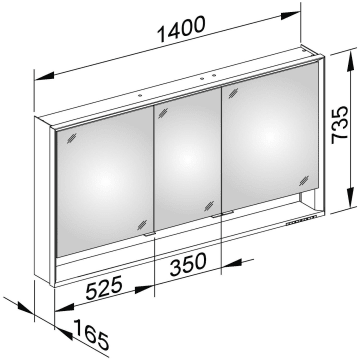 Keuco Royal Lumos Wandvorbau Spiegelschrank 140 X 73 5 Cm Offene Ablage 14306171301 Megabad