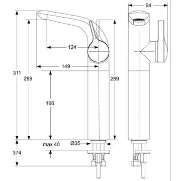 Ideal Standard Melange Einhebel Waschtischarmatur A4266 Megabad