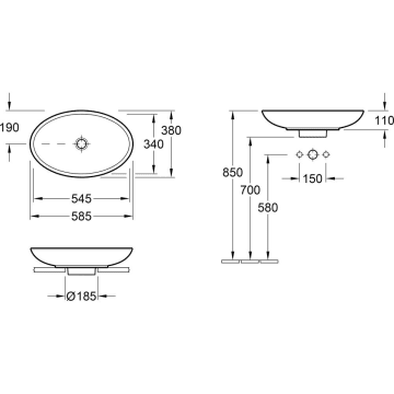 V/&B Aufsatzwaschtisch Loop /& Friends 58,5 x 38 cm oval 515100 515101