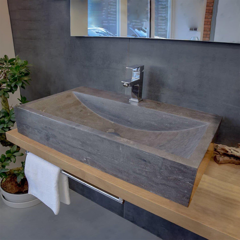 Stone Naturstein Aufsatzwaschtisch anthrazit 20 cm, mit Hahnloch