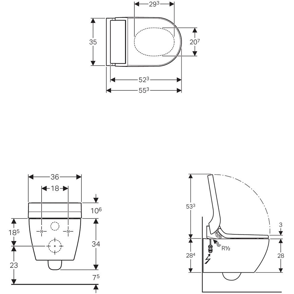 Geberit AquaClean Tuma Comfort WC-Komplettanlage Wand-WC 146.290 ...